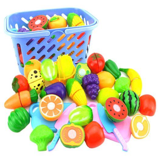 Play House Cut Fruit Plastic Vegetables Kitchen Classic Kids Educational-Toy PLZ