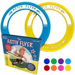 Best Kids Frisbee Rings [Yellow/Cyan] – Top Birthday Presents & Gifts for Young Boys Girls Ages 3 and Up – Ultimate Outdoor Toss Toys at Beach Vacation, School Playground, Park, Pool Family Fun