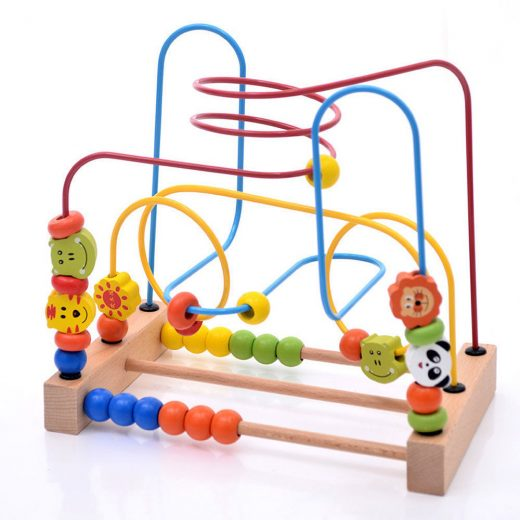 Kids Baby Colorful Wooden Around Circle Bead Educational Game Toy for Toddlers