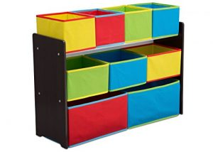 Delta Children Deluxe Multi-Bin Toy Organizer with Storage Bins, Dark Chocolate/Primary Colored