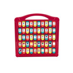 "Battat BT2532Z Hide & Seek Alphabet Preschool Learning Toy For Kids, 13″ (Large) x 11.6"" (W) x 1.5″ (H), Red – Lime – Sea – Coral"