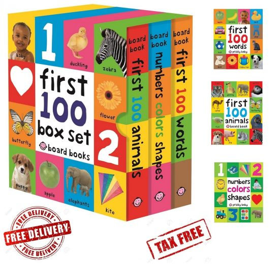 Toddler Learning Book My First 100 Board Book-Words, Numbers, Animals
