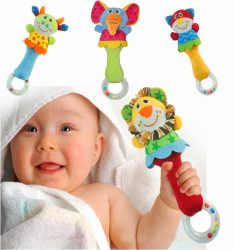 Baby Colorful Animal Handbells Developmental Toy Bed Bells Kids Soft Rattle Toys
