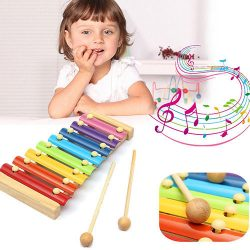 Baby Kids Xylophone Toys 8 Notes Musical Piano Funny Wooden Instrument Toy Glee