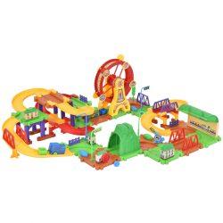 79PCS Plastic Brick Toys Electronic Building Blocks Railway Train W/ Light Music