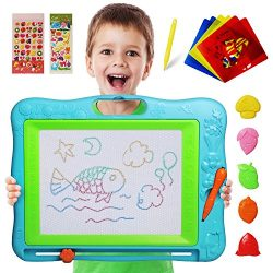 JOYNOTE Large Magnetic Drawing Board for Kids, Colorful Magnet Writing Sketching Pad,Education Toys for Toddlers Learning with 5 Shape Stamps,6 Copy Cards,1 Replacement Pen and 2 Lovely Sticker