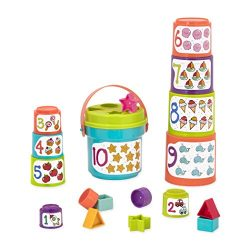 Battat Sort & Stack Nesting Cups – Educational Stacking Cups with Numbers and Shape Sorting – Water and Sand Play with 19 Colorful Pieces