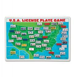 Melissa & Doug Flip to Win Travel License Plate Game – Wooden U.S. Map Game Board