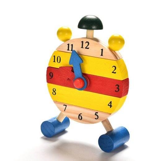 1PC Baby Kids Blocks Early Learning Building Educational Wooden Clock Toy NJ