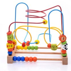 Kids Wooden Around Circle Bead Maze Roller Coaster Educational Toy for Toddlers