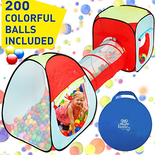 Kiddey 3pc. Kids Ball Pit With 200 Balls, See Through Play Tent Tunnel Set– Crush Proof Balls – Great Gift for Boys & Girls, Toddlers & Babies – Indoor/Outdoor, Carrying Case for Balls and Ball Pit