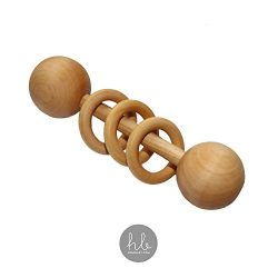 Organic Wood Montessori Styled Baby Rattle by Homi Baby – Perfect Grasping Teething Toy for Toddlers – Handmade in the USA – Sealed with Organic Virgin Coconut Oil (Natural)