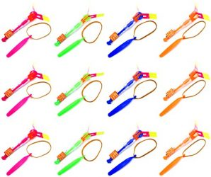 Set of 12 Flashing LED Sling Shot Flare Arrow Helicopter Children's Kid's Toy Flyer (Colors May Vary)