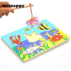 3D Baby Jigsaw Puzzle Board Wooden Magnetic Fishing Game Children Education Toy