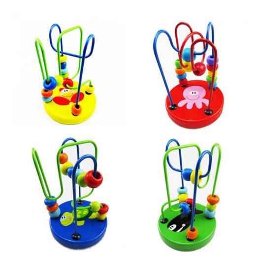 Baby Kids smart Wooden Around Beads Toddlers Intelligence for 0-3 years Toys new