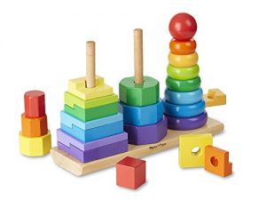 Melissa & Doug Geometric Stacker – Wooden Educational Toy