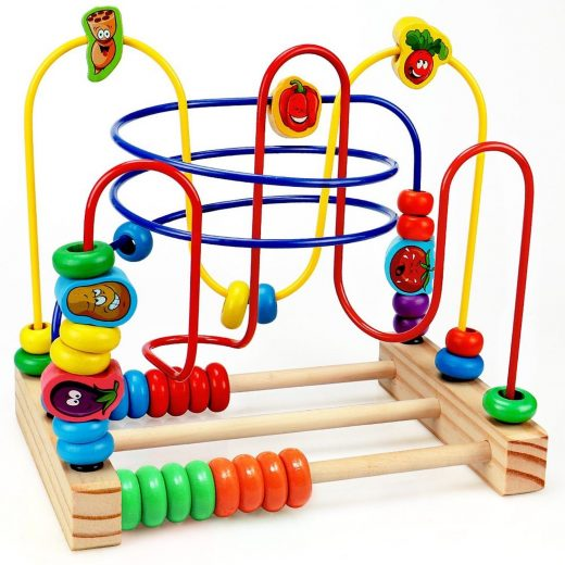 Wooden Beads Maze Game Educational Toys for Toddler Baby Roller Coaster Around