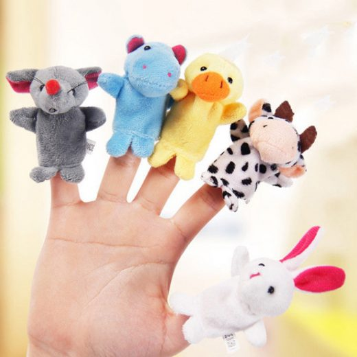 10 X Family Finger Puppets Cloth Doll Baby Hand Cartoon Animal Toy Set  For Kids