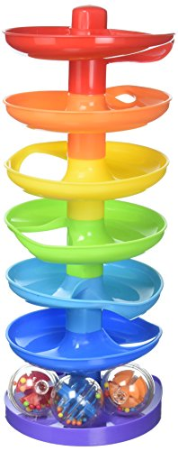 KidSource Super Spiral Tower – Ball Drop and Roll Activity Toy – Seven Colorful Ramps and Three Rattling Balls Promote Fine Motor Skills for Kids Ages 1 Year Old and Up