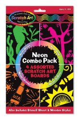 Melissa & Doug Scratch Art Neon Combo 4-Pack – 4 Boards, Stencil Sheet