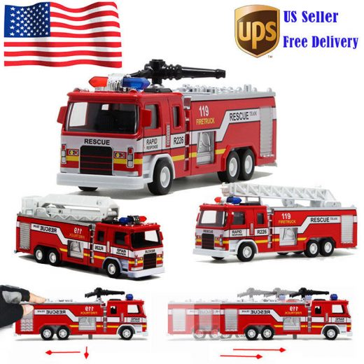 High Quality 1:50 Alloy Model Toy Aerial Rescue Fire Truck Kids Educational Toys