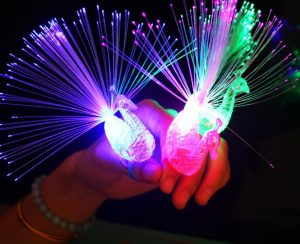1Piece Creative Baby Child Peacock Color Led Fiber Finger Night Light Party Toy