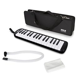 Pyle Black Professional Keyboard Harmonica Instrument – Also Called Mouth Organ, Wind Piano – Tremolo Key Melodica Kit Set Includes Mouthpiece, Tube Accessories – Great for Beginner or Band – PMLD12BK