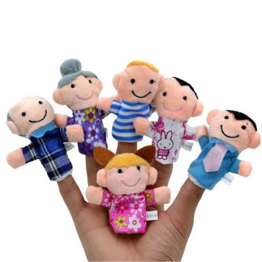 US 6PC Baby Kids Plush Cloth Play Game Learn Story Family Finger Puppets Toy Set