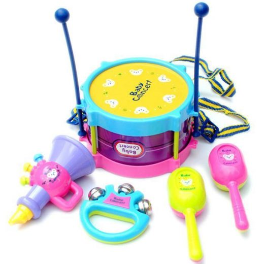 5pcs Kids Baby Roll Drum Musical Instruments Band Kit Children Toy Baby Gift Set