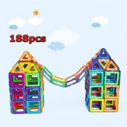 188 Pcs Educational Magnetic Sticks Building Blocks Fun Toys Children Gifts US
