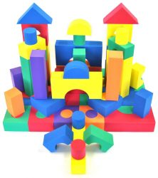 70 Piece Safe Foam Building Play Block Set for Kids: Developmental Soft Toys