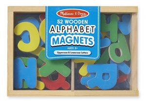 Melissa & Doug 52 Wooden Alphabet Magnets in a Box – Uppercase and Lowercase Letters