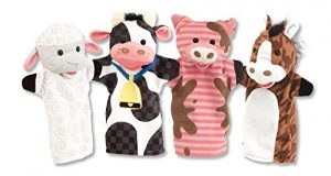 Melissa & Doug Farm Friends Hand Puppets (Set of 4) – Cow, Horse, Sheep, and Pig