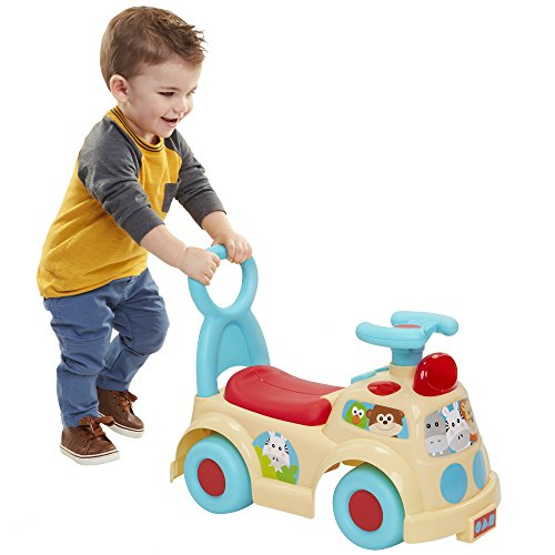 Moose Mountain Jungle Safari Push N' Scoot Ride-on with Lights and Sounds [Amazon Exclusive] , Beige/Blue