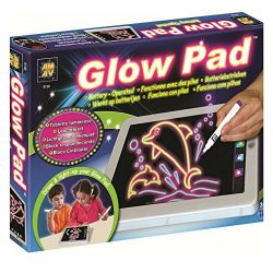 AMAV Glow Pad – Portable Hi-Tech Drawing Board for kids Toy Tablet-size With 7 Interchanging Blinking Colorful Lights. Children's light up coloring board, Arts and Crafts set