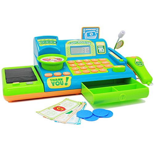 Boley Kids Toy Cash Register – Pretend Play Educational Toy Cash Register With Electronic Sounds, Play Money, Grocery Toy and More!