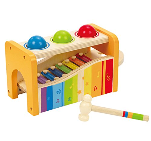 Hape Pound & Tap Bench with Slide Out Xylophone – Award Winning Durable Wooden Musical Pounding Toy for Toddlers, Multifunctional and Bright Colours