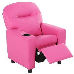 Harper&Bright Designs Kids Recliner with Cup Holder PU Leather Sofa Chair for Child (Pink)