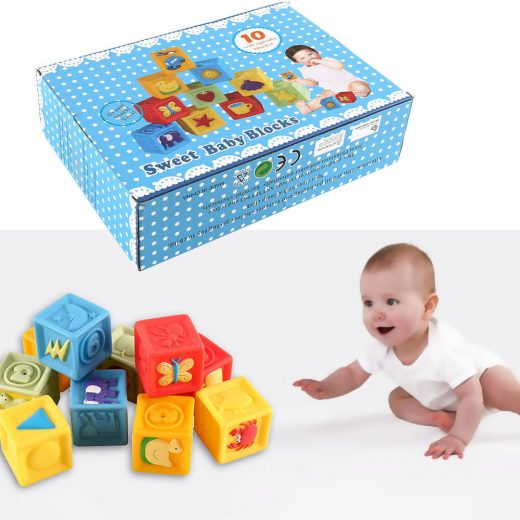10PCS CHILDREN DIY CREATIVE BRICKS COLOUR BUILDING BLOCKS EDUCATIONAL TOYS GAME