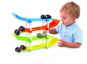 KidSource Flip and Go Racer – 4 Level Race Track and Ramp Car Toy for Toddlers Ages 2 Years Old and Up