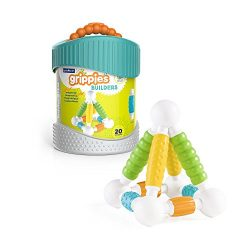 Guidecraft Grippies Builders – 20 Piece Set, Tactile STEM Soft Grip Magnetic Building Toy for Toddlers