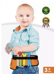 NEW Top Race® 10 Piece Solid Wooden Tools Thick Fabric Belt Role Play Set