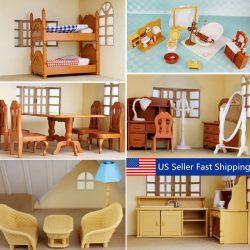Miniature Doll House Furniture Set Kitchen Living Bathroom kids Pretend Play Toy