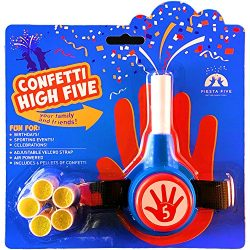 FiestaFive – Confetti High Five HandHeld Toy Shooter with 6 Refills – Blast Confetti From Your Hands, Reloadable, Patented Perfect High Five Design, Safe Air Powered Party Favor – Red/White/Blue