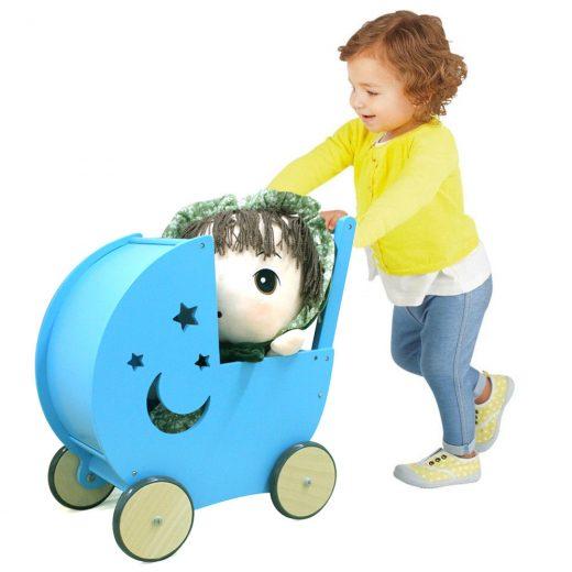 Wooden Kids Doll Pram Children Pretend Play Toy Buggy Pushchair