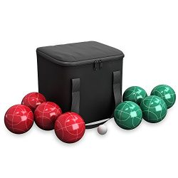 Hey! Play!! 80-76090 Bocce Ball Set- Outdoor Family Bocce Game for Backyard, Lawn, Beach & More- 4 Red & 4 Green Balls, Pallino & Carrying Case