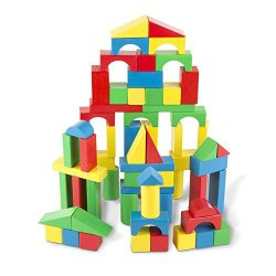 Melissa & Doug Wooden Building Blocks Set – 100 Blocks in 4 Colors and 9 Shapes