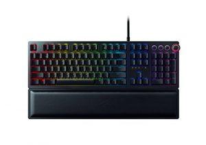 Razer Huntsman Elite: Opto-Mechanical Switch – Multi-Functional Digital Dial & Media Keys – Leatherette Wrist Rest – 4-Side Underglow – Gaming Keyboard