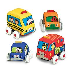Melissa & Doug K's Kids Pull-Back Vehicle Set – Soft Baby Toy Set With 4 Cars and Trucks and Carrying Case