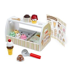 Melissa & Doug Wooden Scoop and Serve Ice Cream Counter (28 pcs) – Play Food and Accessories